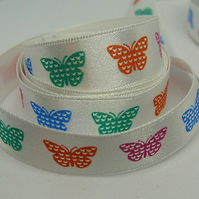 15mm butterfly ribbon, 1 metre.