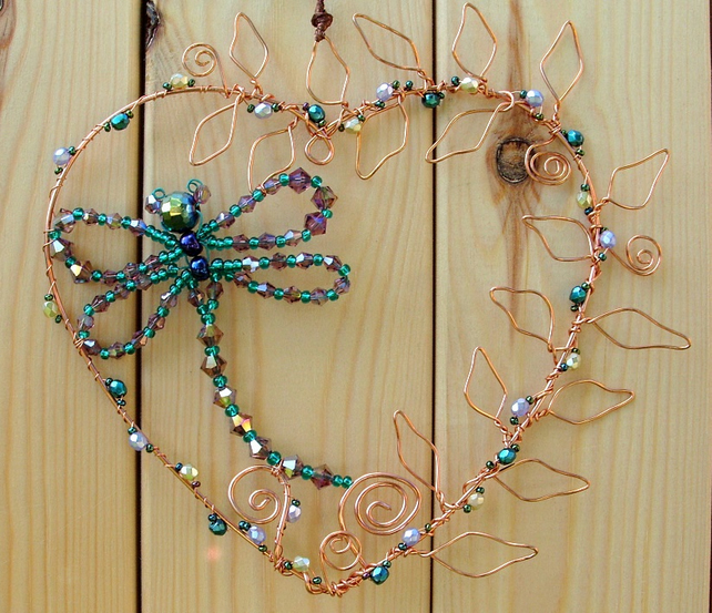 Crystal dragonfly, hanging copper wire heart with leaves, hand-made decoration