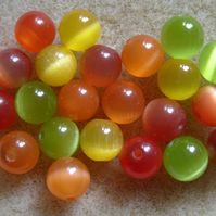 25 cats eye beads, 6mm, mixed