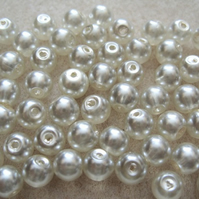 60, 8mm glass pearls, lustered ivory