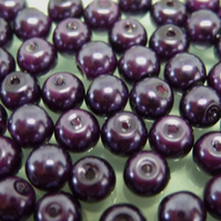 100, 6mm glass pearls, purple