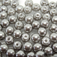 100, 6mm glass pearls, silver grey
