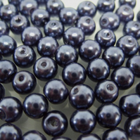 100, 6mm glass pearls, dark blue