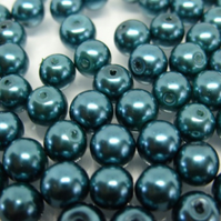 60, 8mm glass pearls, teal green