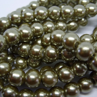60, 8mm glass pearls, olive green