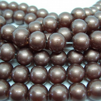 40, 10mm glass pearls, brown pearlised