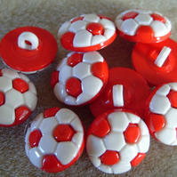 10 football buttons red