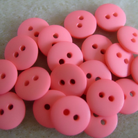 20 pink buttons, 11mm, 2 hole