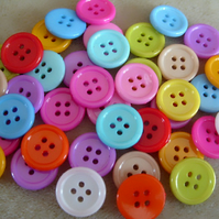 40 buttons, mixed colours, 4 hole, 15mm
