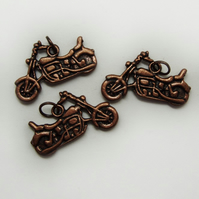3 motorbike charms, antique copper, 25mm x 13mm
