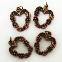 4 heart pendants, antique copper, flower pattern, 17mm x 20mm