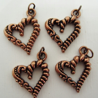 4 heart pendants, antique copper, fancy pattern, 18mm x 20mm