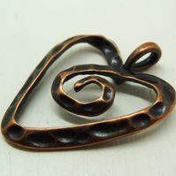 Copper plated heart pendant, 28mm x 35mm