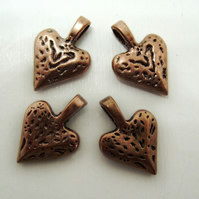4 heart pendants, antique copper, textured pattern, 15mm x 20mm