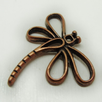 Copper plated dragonfly charm, 28mm x 32mm