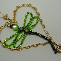 Beaded dragonfly heart hanger, green and gold