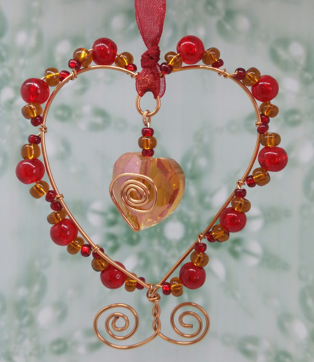 Red and copper wire beaded heart hanger