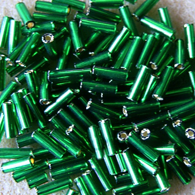 20g 7mm bugle beads, silver-lined emerald green