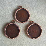 3 round pendant frames, 25mm, plated metal, antique copper