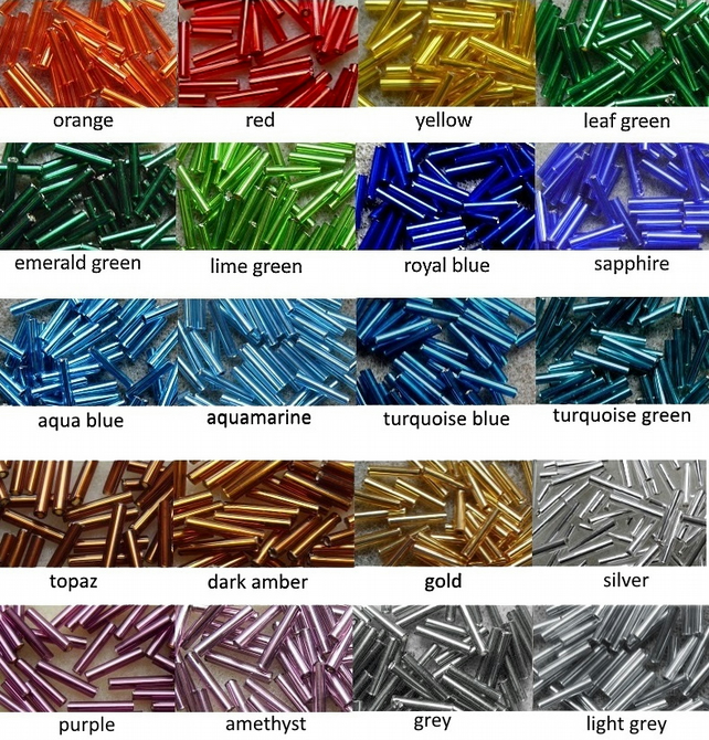 20g 12mm bugle beads, silver-lined