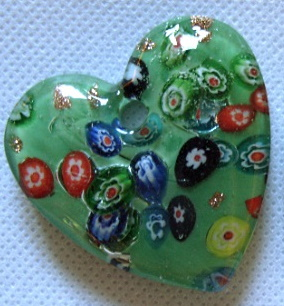 Large heart pendant, Italian flower style, green