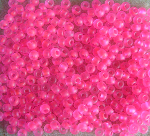 20g size 6 seed beads, frosted neon pink