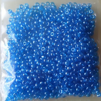 20g size 8 seed beads, lustered aqua
