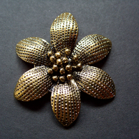 Metal flower pendant, antique gold plated, 50mm