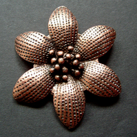 Metal flower pendant, copper plated, 50mm
