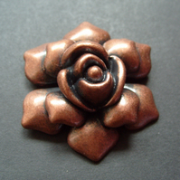Large metal flower pendant, rose, copper, 52mm