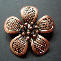 Metal flower pendant, copper coloured plating, 40mm