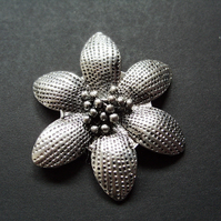 Metal flower pendant, silver plated, 50mm
