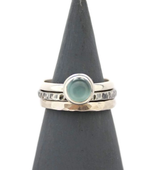 Blue Agate Stacking Silver Ring Set - Oxidised Hammered Sterling Silver Blue