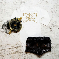 Baby Girl Bodysuit. Le Meow Bodysuit. Cute Baby Girl Outfit