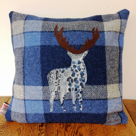 Harris Tweed & Liberty Fabric Stag Applique Cushion and Pad In Blue Tartan