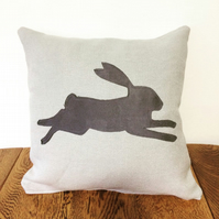 Grey Linen & Suede Fabric Hare Applique Cushion and Pad