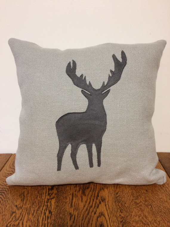 Grey Linen & Suede Fabric Stag Applique Cushion and Pad