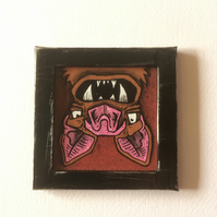 Fangs - Mini painting Fridge Magnet
