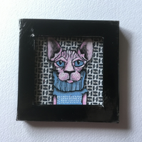 Sophia Sphynx- Mini Painting Fridge Magnet