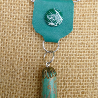 Turquoise Leather button paper bead detail scarf shawl pin Medal Brooch