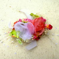 Coral  Wht Green Flower trim makes a FASCINATOR or BAG CORSAGE or LAPEL CORSAGE