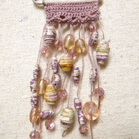 Taupe Crochet top paper beads Kilt Pin shawl pin scarf pin brooch