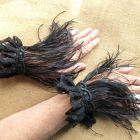PAIR Black Gothic steampunk feather cuff bracelet Halloween Burlesque