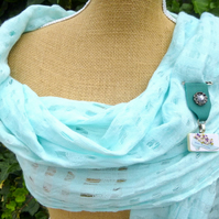 Turquoise Leather button vintage tablet detail Scarf shawl pin  Medal Brooch