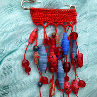 Red Crochet Kilt pin shawl pin scarf pin brooch Red Blue Paper Beads