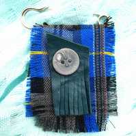 Blue Tartan Kilt Pin with leather and button trim scarf shawl pin brooch
