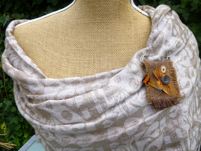 Tan wool scarf shawl pin kilt pin brooch with feather and button trim