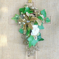 Decorated beaded Cross Crucifix Gold pearl ivy hanging decoration Christmas