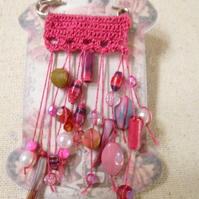 Pink Crochet scarf shawl kilt pin Brooch UK featuring hand rolled paper beads