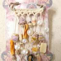 Cream Crochet scarf shawl kilt pin Brooch UK featuring hand rolled paper beads